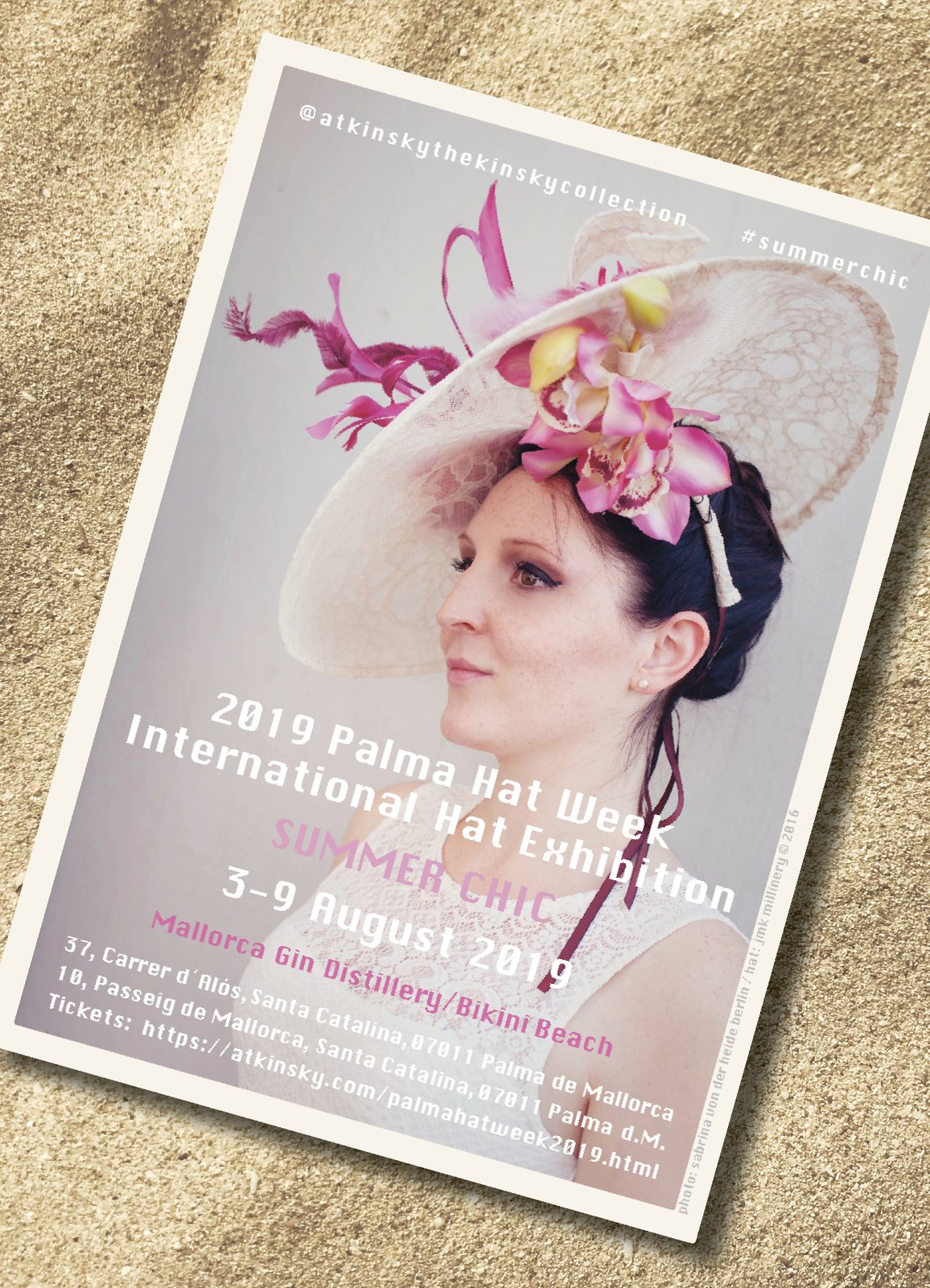 official invitiation flyer to Palma Hat Week, hosted by atKinsky die Sammlung Kinsky