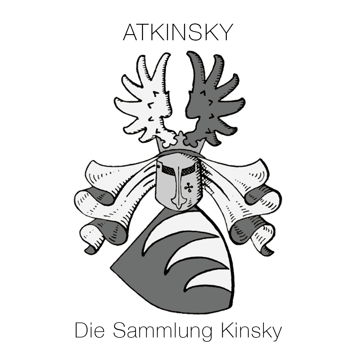 the offical logo of atKinsky die Sammlung Kinsky, shows the families Coat of Arms and slogan for the private art collection