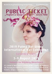 German Model and Moderator Jean Bork wearing a fascinator by JMK Millinery, owned by Judith Kinsky who is the curator of Palma Hat Week 2019